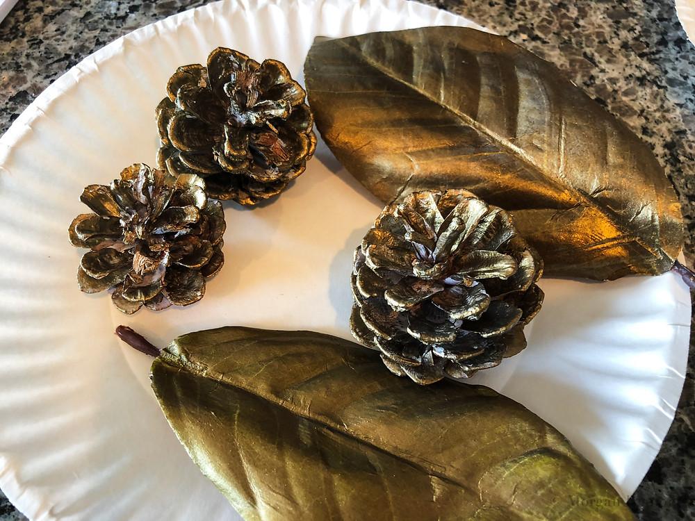 pinecones, leaves, painted, metallic, diy project