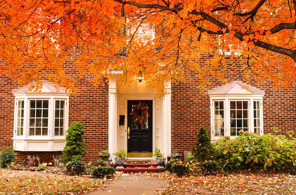 brick home, fall, autumn, exterior, entry