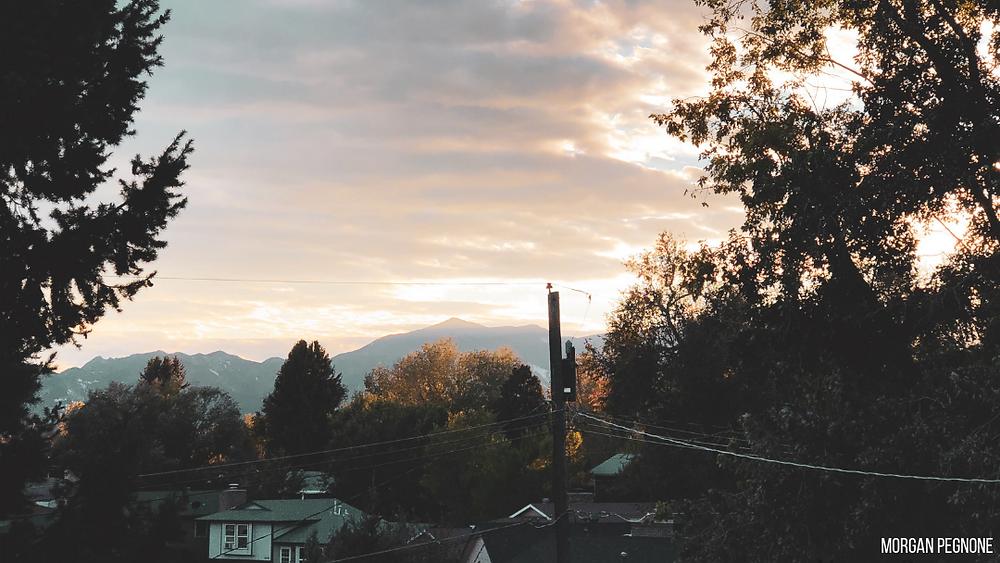 deck, view, mountains, sunset, roofs, home, colorado, colorado springs