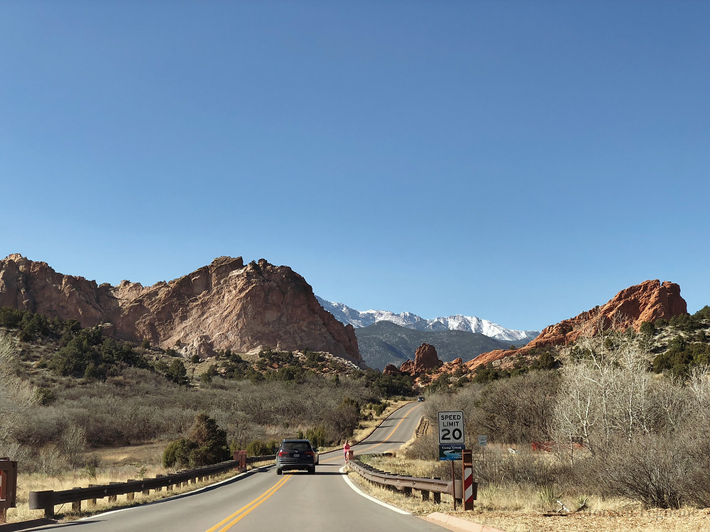 garden of the gods entrance, colorado springs, colorado, mountain range, rock formations