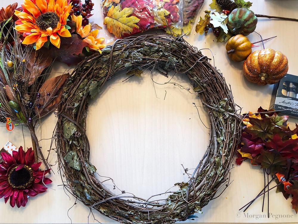 diy project, fall wreath, sunflowers, flowers, grapevine wreath, pumpkins, glitter pumpkin, leaves, metallic paint