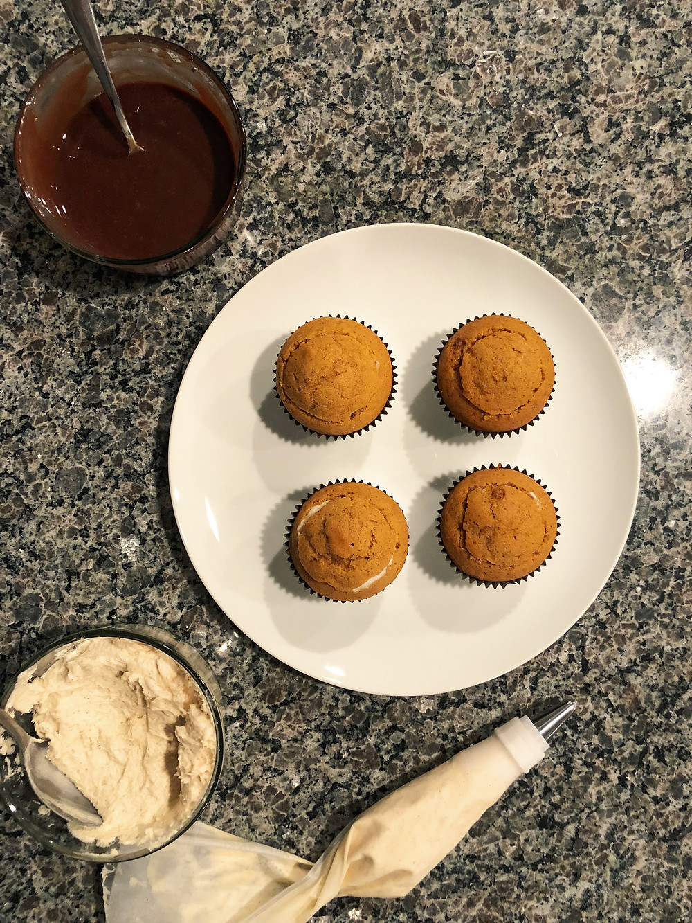 pumpkin, pumpkin cupcakes, cupcakes, ice cream, tillamook ice cream, chocolate, ganache, cinnamon, cream cheese frosting
