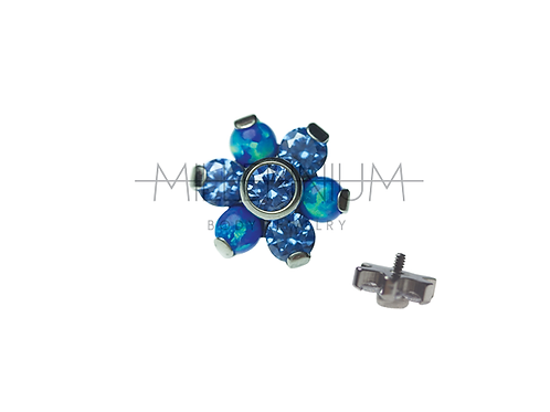 Topo Flor Safira com Opala Azul