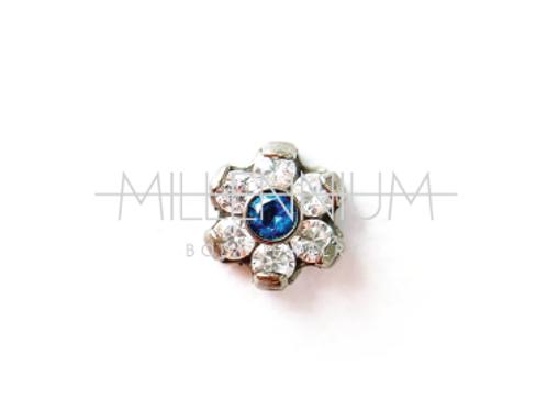 Mini Flor com cristal azul