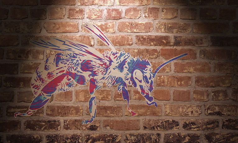 A bee graffiti stencil its design utalises the graffiti etched window artwork of Stephen Calcutt the image refered to fragmented Jack is red white and blue and is an abstraction of the union flag