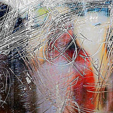 Bus Stop 13 one of a series of photographic art by Stephen Calcutt. These photographs are images created by using the graffiti etched bus shelter window as a lens. They are vibrant abstract and impressionistic in their presentation. Contemporary art that has a story linked in with anxiety, depression, detachment and empowerment.