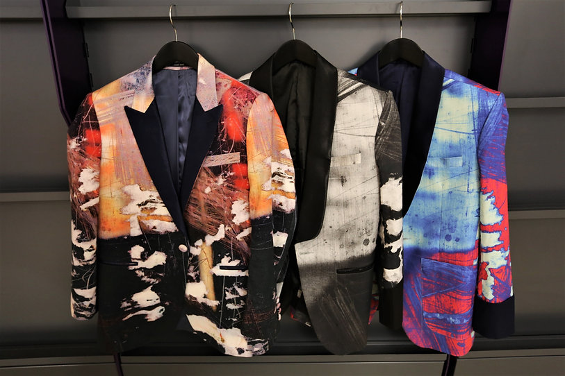 The first jackets  of vandalism created by Stephen Calcutt for his fashion brand Mango Ha Ha Ha.  A tuxedo style jacket that has a vibrant print derived from the graffiti etched windows of a bus shelter. Each jacket is tailor made and bespoke