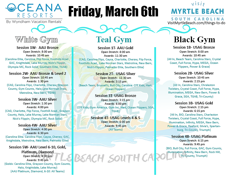 Coastal Classic Schedule Friday 2020 (Wi