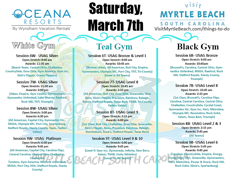 Coastal Classic Saturday Schedule 2020 (