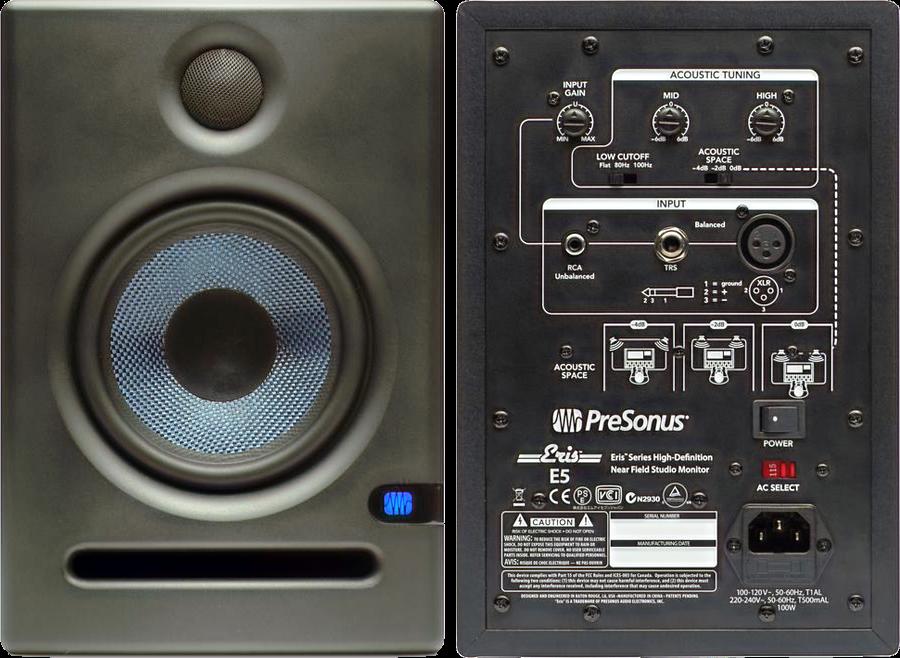 The Presonus Eris E5 front and back picture