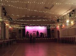 Suspended LED lighting for a dance.