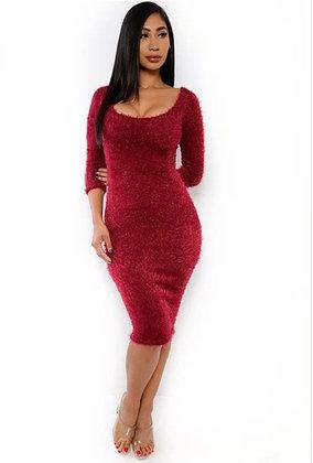 Fuzzy Midi Dress