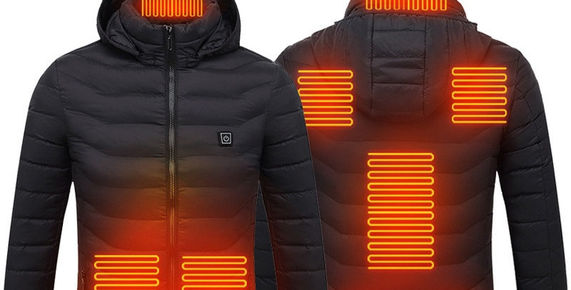 Hooded Heated Jacket USB Electric Mens Coat Thermal Heating Tactical Hiking