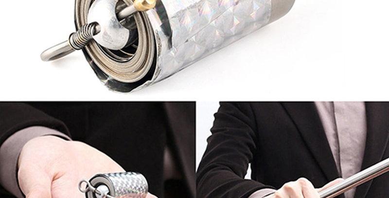 Silver 110cm/150cm Portable Telescopic Rod Martial Arts Metal Staff