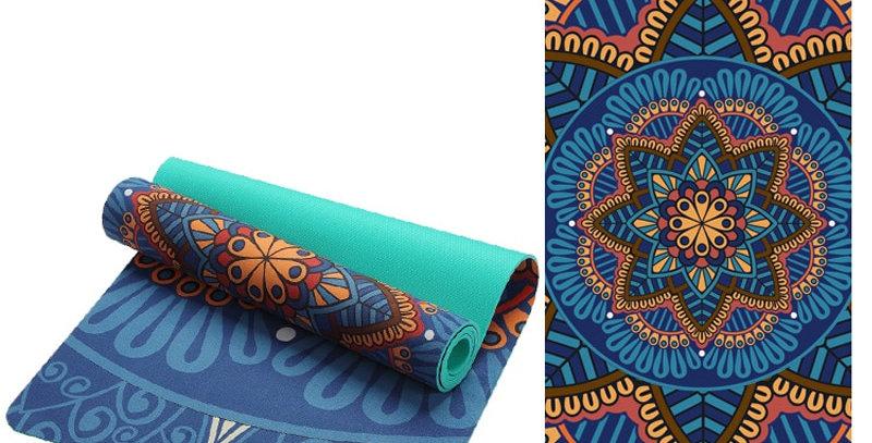 Lotus Pattern Suede TPE Yoga Mat Pad Non-Slip Fitness Esterilla Pilates