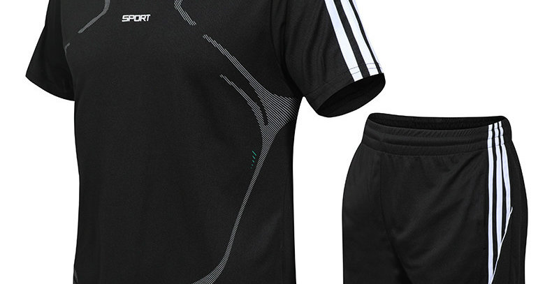 Men's Fashion Sets Fitness Suit Quick-Drying Short-Sleeved shirt and Shorts