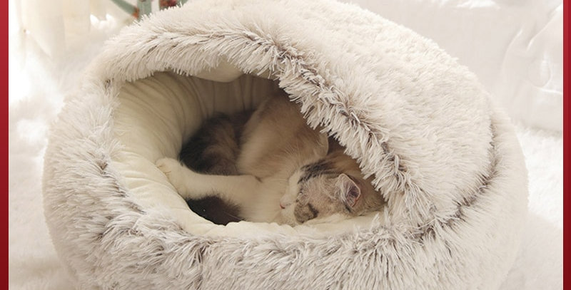 HOOPET New Style Pet Bed Round Soft Plush Bed for Cats and Small Dogs