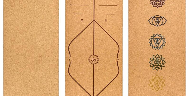 Jusenda 6'x2.2'x Natural Cork TPE Yoga Mat Non-Slip With Position Body Line