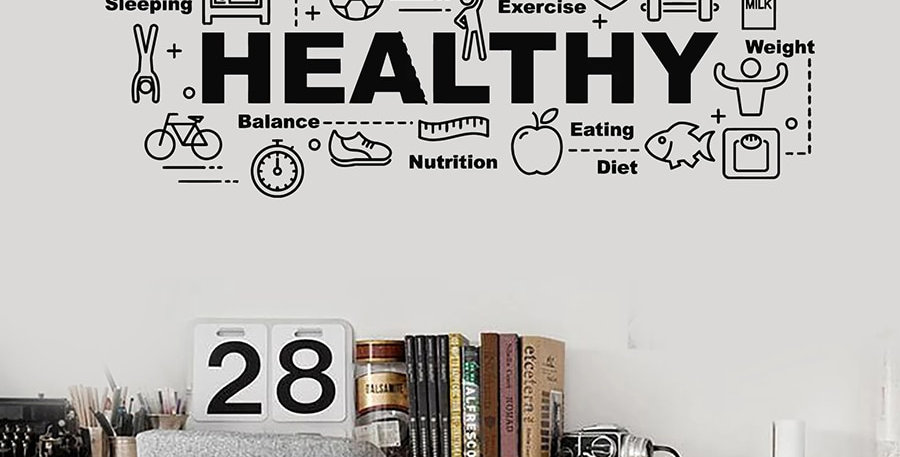 Healthy Lifestyle Wall Sticker Sport Quotes Vinyl Decal Gym Livingroom Fitness