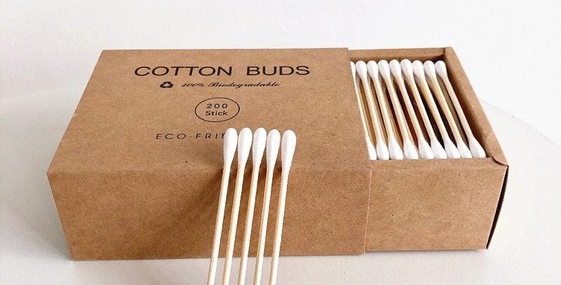 200Pcs Bamboo Cotton Swab Organic White