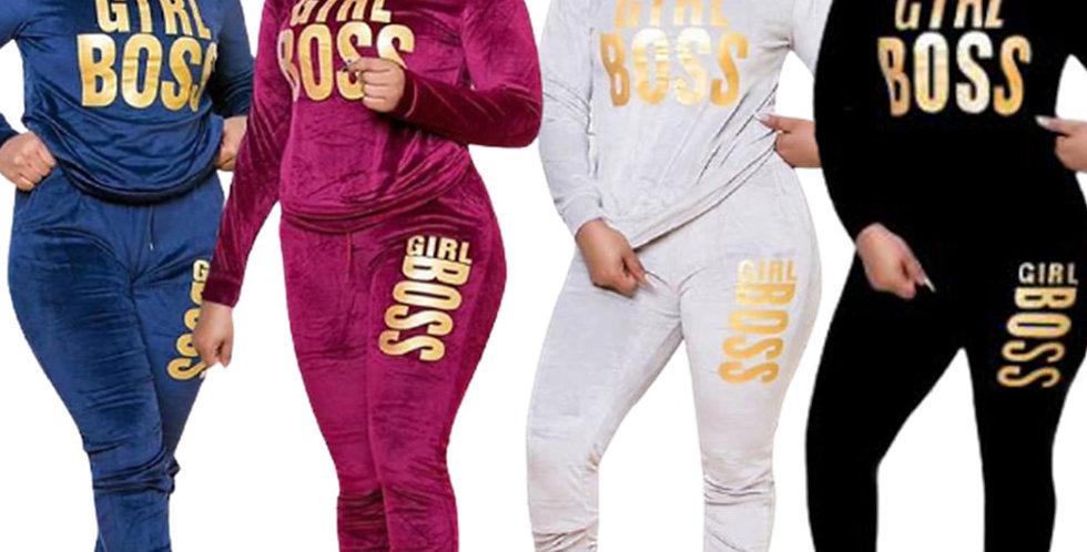 Plus Size XL-5XL Letter Print Velvet Women's Set Sweatshirt Top