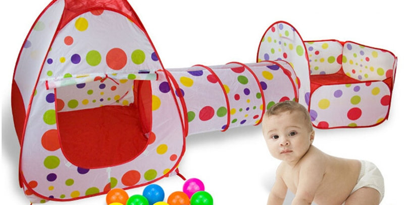 IMBABY 3 in 1 Play Tent Baby Ball Pool Ocean Balls Foldable Tunnel Play House