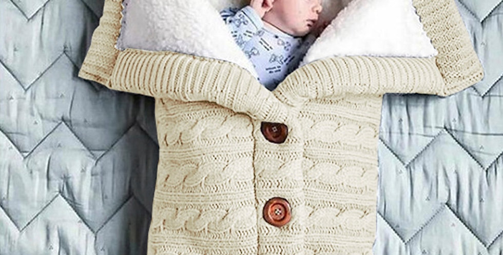Baby Sleeping Bag Sack Wool Button Knit Swaddling Wrap Stroller Blanket