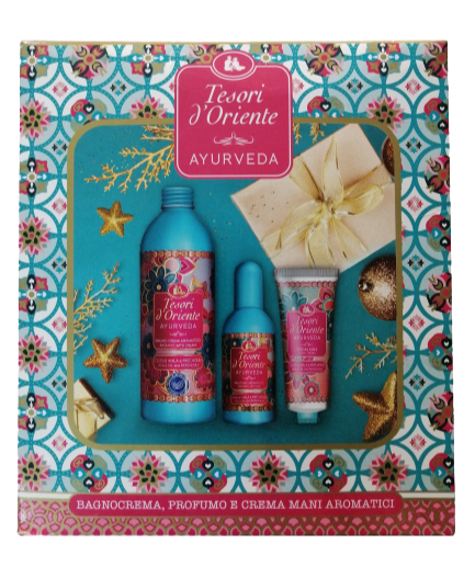 Set cadou Tesori D'Oriente Ayurveda(crema de baie,parfum si crema de maini)675ml