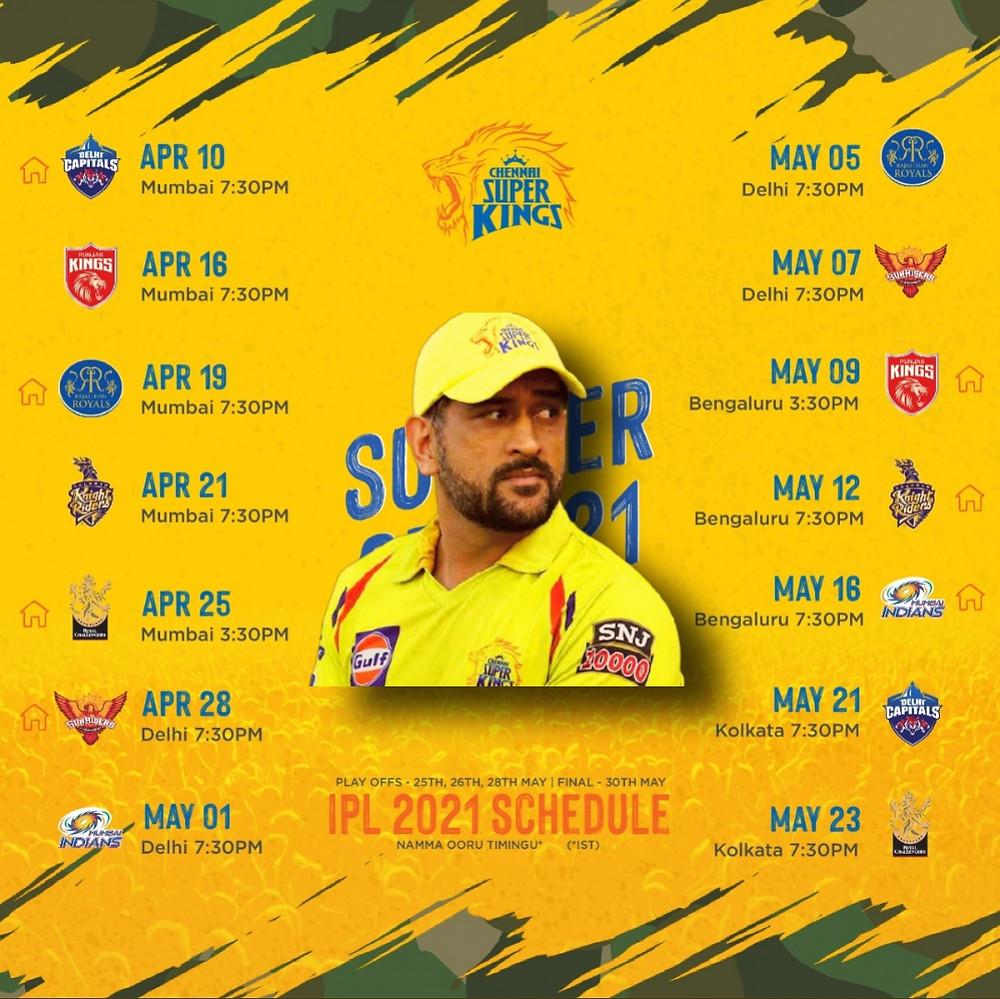 CSK IPL 2021 SCHEDULE