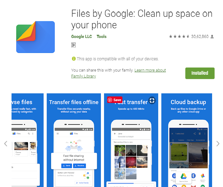 Files by Google: Clean up space on your phone