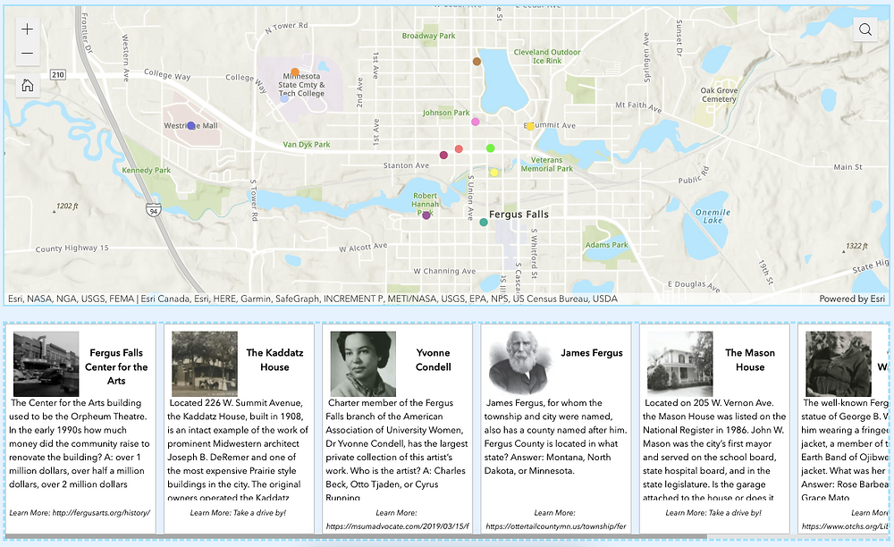 Map of Fergus Falls with local notables underneath for trivia poster