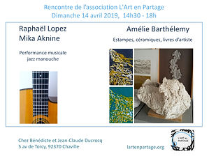 Invitation 14 avril ART EN PARTAGE A BAR