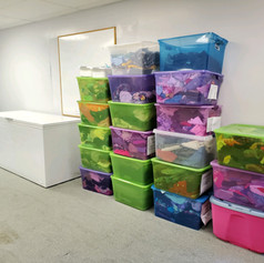 Clothes stored in our Clothing Bank