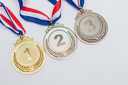 Gold, silver and bronze bronze medals of