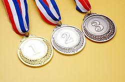 Gold medal, silver medal and bronze meda