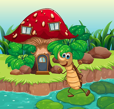 Illustration of a cockroach dancing in front of a mushroom house .jpg