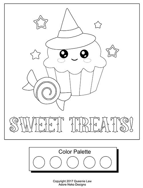 Free Coloring Page Sweet Treats