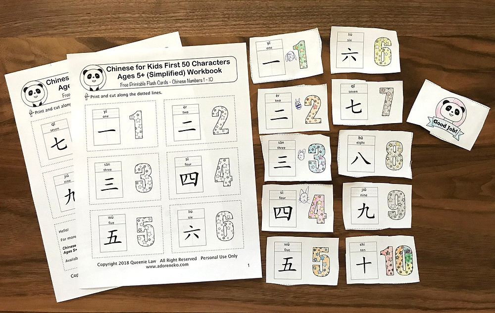 Chinese For Kids Number Flashcards