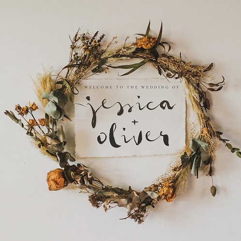 dried flower wreath sign