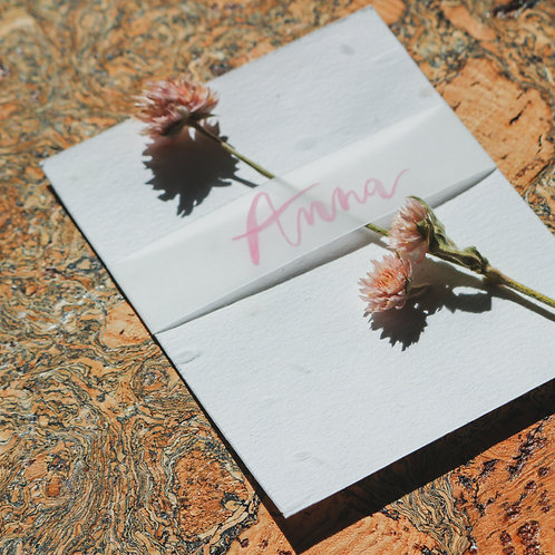 seeded vellum place cards