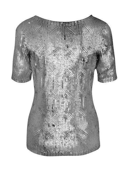 silver shirt