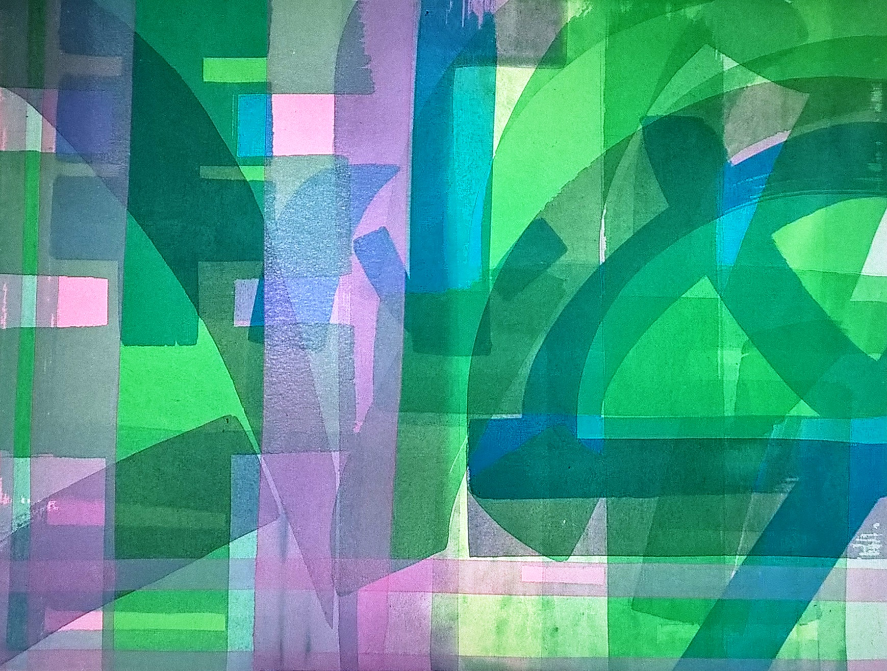 Calligraphy Abstract (pink + greens) 2002