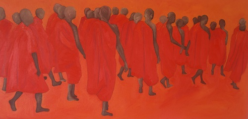 Monks marching