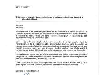 Appui des élus de l'arrondissement pour le projet de déménagement