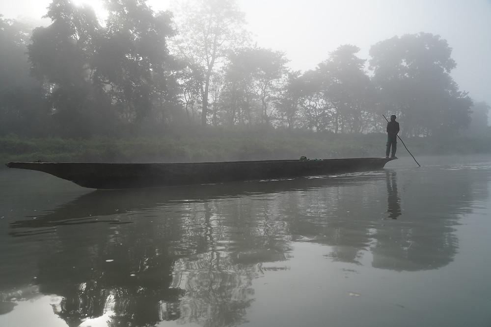 Dug out canoe Chitwan Nepal