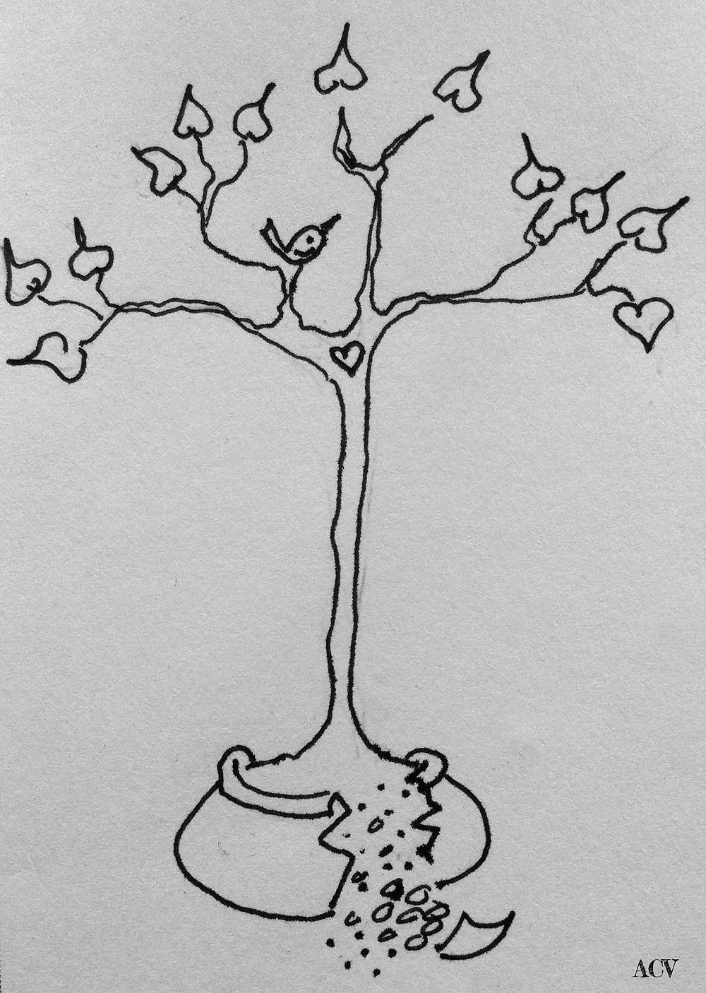 Sketch of a tree in a broken pot by Amanda Vesty