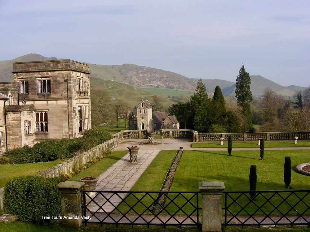 Ilam church Ilam Hall Italian garden