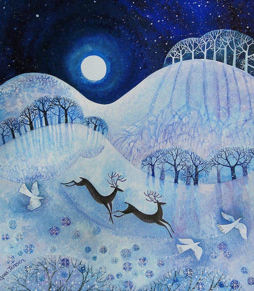 Lisa Graa Jensen trees and snow animal painting
