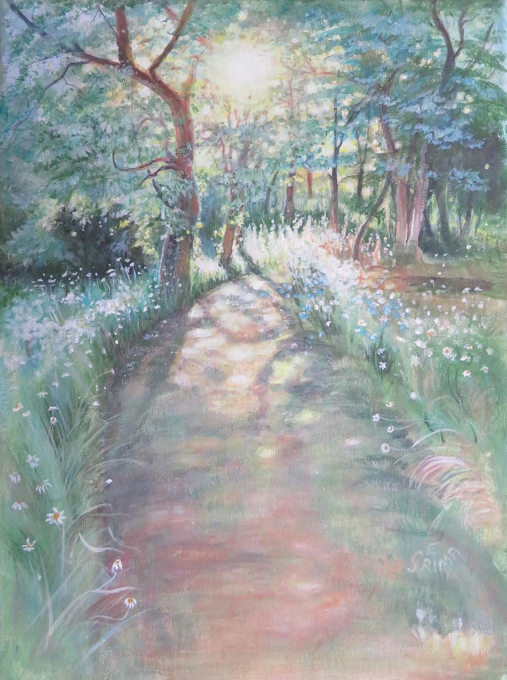 Morning walk. Painting by Eleizabeth grima