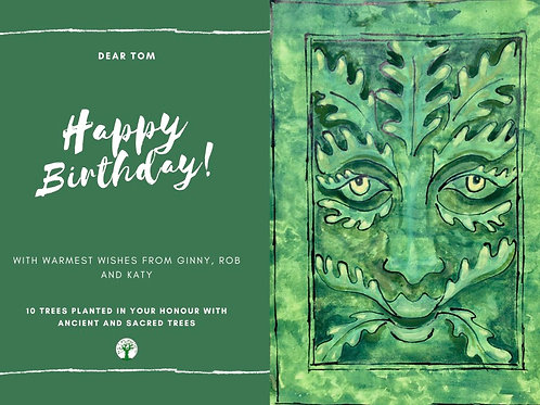 Green Man Happy Birthday Card